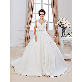 Ball Gown V-neck Chapel Train Organza Wedding Dress with Beading Appliques by LAN TING BRIDE plus size,  plus size fashion plus size appare