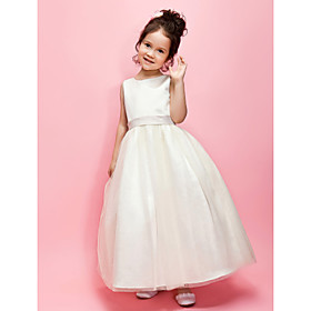 A-Line Ball Gown Ankle Length Flower Girl Dress - Satin Tulle Sleeveless Jewel Neck with Bow(s) Sash / Ribbon by LAN TING BRIDE
