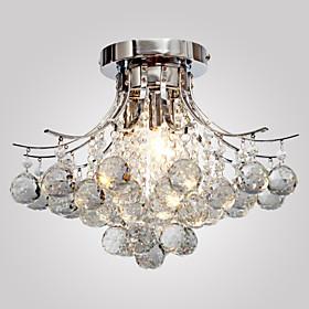 Lightinthebox Flush Mount Ambient Light Chrome Metal Crystal, Mini Style 110-120V / 220-240V Bulb Not Included / E12 / E14