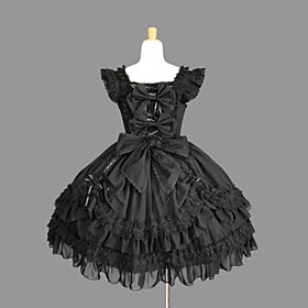One-Piece/Dress Gothic Lolita Lolita Cosplay Lolita Dress Black Solid Sleeveless Medium Length Dress For Women Cotton