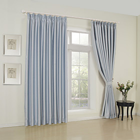(Two Panels) Solid Sky Blue Classic Room Darkening Curtains