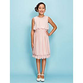 Sheath / Column Jewel Neck Knee Length Chiffon Junior Bridesmaid Dress with Beading Draping Ruffles Ruching by LAN TING BRIDE