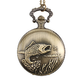 Men's Pocket Watch Quartz Alloy Band Analog Vintage Bronze - Golden