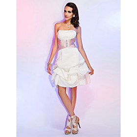TS Couture Cocktail Party Wedding Party Holiday Dress - Short A-line Princess Strapless Knee-length Satin withBeading Pick Up Skirt Sash plus size,  plus size fashion plus size appare