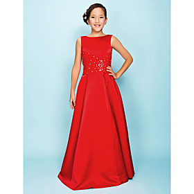 A-Line Princess Bateau Neck Floor Length Satin Junior Bridesmaid Dress with Beading Draping Criss Cross by LAN TING BRIDE