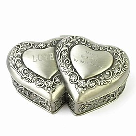 Personalized Unique Double Heart-shaped Tin Alloy Women's Jewelry Box