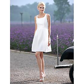 A-Line Scoop Neck Short / Mini Taffeta Wedding Dress with Sash / Ribbon Draped by LAN TING BRIDE plus size,  plus size fashion plus size appare