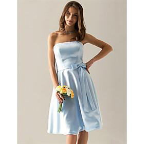 LAN TING BRIDE Knee-length Strapless Bridesmaid Dress - Elegant Sleeveless Satin