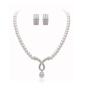 Gorgeous Clear Crystals With Imitation Pearls Wedding Bridal Jewelry Set, Including Necklace And Earrings