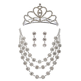 Triple Strand Rhinestone Bridal Necklace With Earrings Tiara