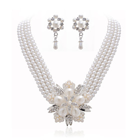 Gorgeous Clear Crystals And Imitation Pearls Jewelry Set, Including Necklace And Earrings