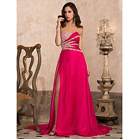 A-Line Sweetheart Court Train Chiffon Formal Evening / Military Ball Dress with Beading Split Front by TS Couture plus size,  plus size fashion plus size appare