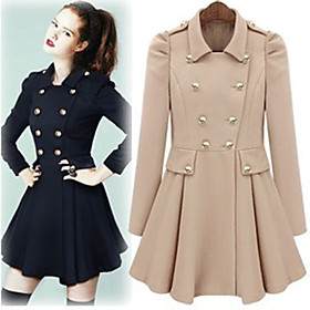 Lady Puff Sleeves Swing Coat