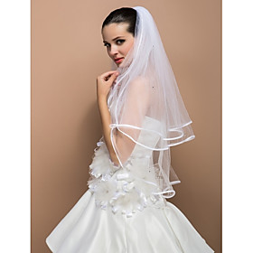 Three-tier Elbow Ribbon Edge Wedding Veil