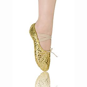 Non Customizable Women's/Kids' Dance Shoes Ballet Leatherette Flat Heel Gold