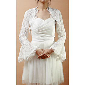 Wedding Wraps Coats/Jackets Long Sleeve Lace As Picture Shown Wedding / Party/Evening Bell Sleeves Open Front plus size,  plus size fashion plus size appare
