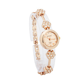 Gorgeous Dame Alloy Quartz Movement Glass Round Shape Dress Watch