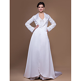Wedding Wraps Coats/Jackets Long Sleeve Satin White Party/Evening Open Front plus size,  plus size fashion plus size appare