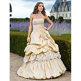A-Line Strapless Floor Length Taffeta Prom Dress with Beading by TS Couture plus size,  plus size fashion plus size appare