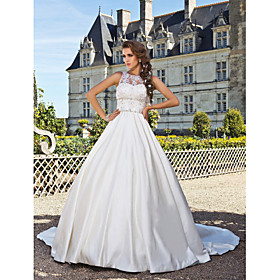 Ball Gown Illusion Neckline Chapel Train Satin Lace Over Tulle Custom Wedding Dresses with Beading Appliques by LAN TING BRIDE plus size,  plus size fashion plus size appare