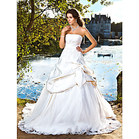 Ball Gown Strapless Chapel Train Satin Wedding Dress with Beading Appliques Bow Pick-Up by LAN TING BRIDE plus size,  plus size fashion plus size appare