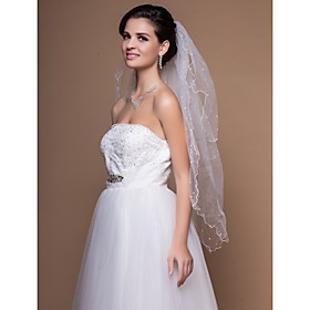 Two-tier Elbow Wedding Veils With Finished Edge (More Colors)