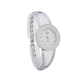 Mode Dame Alloy Quartz Movement Glass Round Shape Dress Watch (flere Farver)
