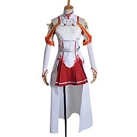 geinspireerd door Sword Art Online Asuna Yuuki Anime Cosplay Kostuums Cosplay Kostuums Patchwork  Wit / Rood MouwloosTop / Rok / Mouwen /