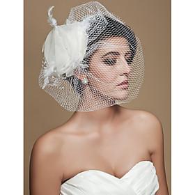 Wedding Veil One-tier Blusher Veils / Birdcage Veils Cut Edge Tulle thumbnail