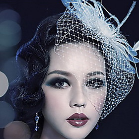 Women's Feather / Tulle Headpiece-Wedding / Special Occasion / Outdoor Birdcage Veils