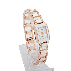 Dame Alloy Quartz Movement Glass Rektangel Shape Dress Watch