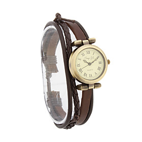 Mode Dame Pu Quartz Movement Glass Round Shape Dress Watch