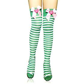 Image of Socks/Stockings Sweet Lolita Lolita Lolita Green Lolita Accessories Stockings Striped For Women Nylon