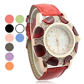 Kvinder Steel Band Analog Quartz Cuff Armbånd Watch Med Farverige Blomst M?nster Dial