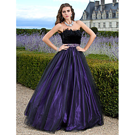 Ball Gown Princess Strapless Floor Length Tulle Formal Evening / Quinceanera Dress with Beading Feathers / Fur by TS Couture plus size,  plus size fashion plus size appare