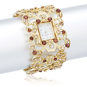 Elegant Dame Alloy Quartz Movement Glass Square Shape Dress Watch