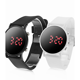 Pair of Sports Style Red LED Jelly Wrist Watches - Black White