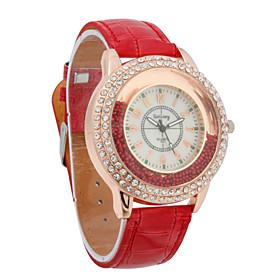 Mujeres PU Movimiento de cuarzo cristal de forma redonda con vestido reloj Rhinestone (M?colores)