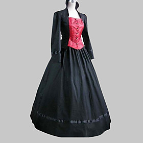 Long Sleeve Floor-length Black Cotton Classic Lolita Dress $26.99 AT vintagedancer.com