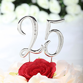 Cake Topper Classic Theme Chrome Anniversary Birthday With Rhinestone PVC Bag