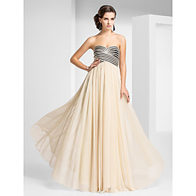 Sheath / Column Strapless Sweetheart Floor Length Tulle Prom Dress with Draping