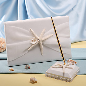 Starfish Sea Shell Beach Themed Wedding Guest Book and Pen Set Sign In Book
