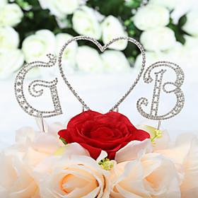 Taarttoppers Niet-persoonlijk Harten / Monogram Bruiloft / Quinceañera  Sweet Sixteen / Trouwdag / Verjaardag Bergkristal ZilverKlassiek
