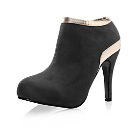 Suede Upper High Heel Ankle Boot With Shining Strap Fashion Shoes