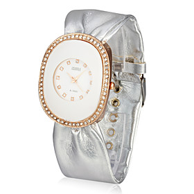 Kvinder Leather Quartz Movement Glass Round Shape Dress Watch