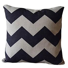 Classic Wavy Line Cotton/Linen Decorative Pillow Cover