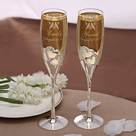 Crystal Toasting Flutes Gift Box Classic Theme Spring Summer Fall