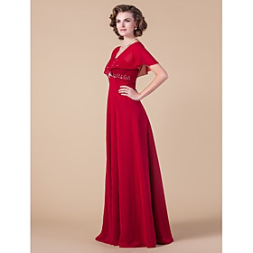 Sheath / Column Square Neck Floor Length Chiffon Mother of the Bride Dress with Beading by LAN TING BRIDE plus size,  plus size fashion plus size appare