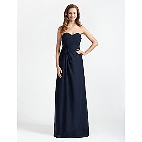 LAN TING BRIDE Floor-length Chiffon Bridesmaid Dress - Sheath / Column Strapless / Sweetheart Plus Size / Petite plus size,  plus size fashion plus size appare
