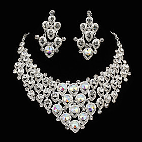 Jewelry Set Women's Anniversary / Engagement / Birthday / Gift / Party Jewelry Sets Alloy Rhinestone Necklaces / Earrings Silver